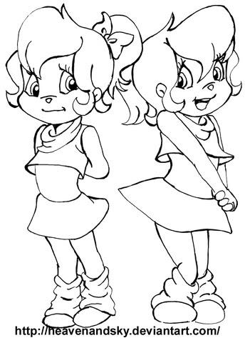 Dibujo De Chicas De Alvin Y Las Ardillas Para Colorear Dibujos