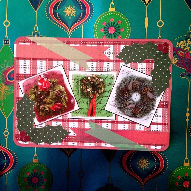 #wreaths #holly #washitape #postcard #snailmail