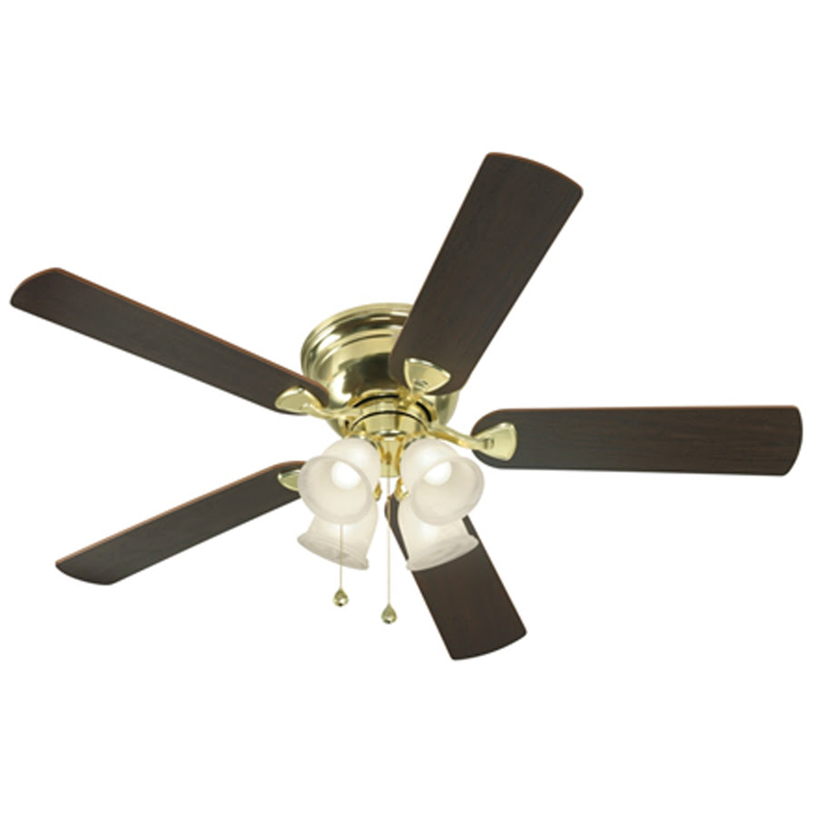 ... in Polished Brass Flush Mount Ceiling Fan with Light Kit at Lowes.com