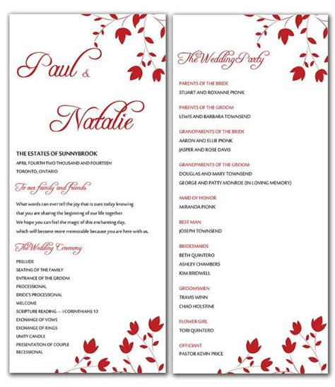 diy red wild flowers wedding program microsoft word