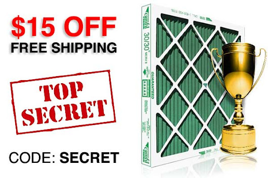 $15 off NOW on furnace filters, code: SECRET