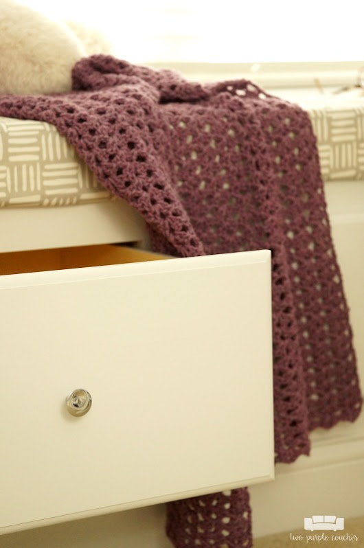 How to Build a Drawer - two purple couches