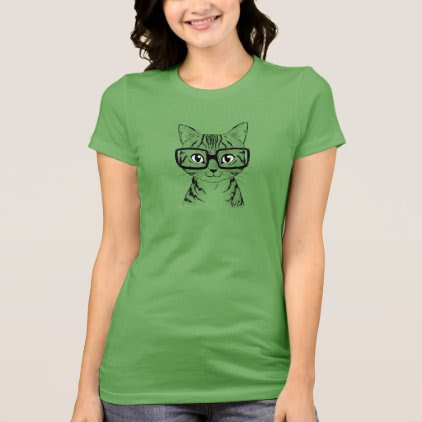 Unique Hand Drawn Nerdy Cat Art Women's Green Tee