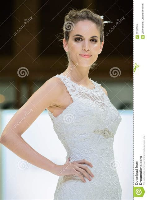 Model On Catwalk Wearing Bridal Gown Editorial Stock Image