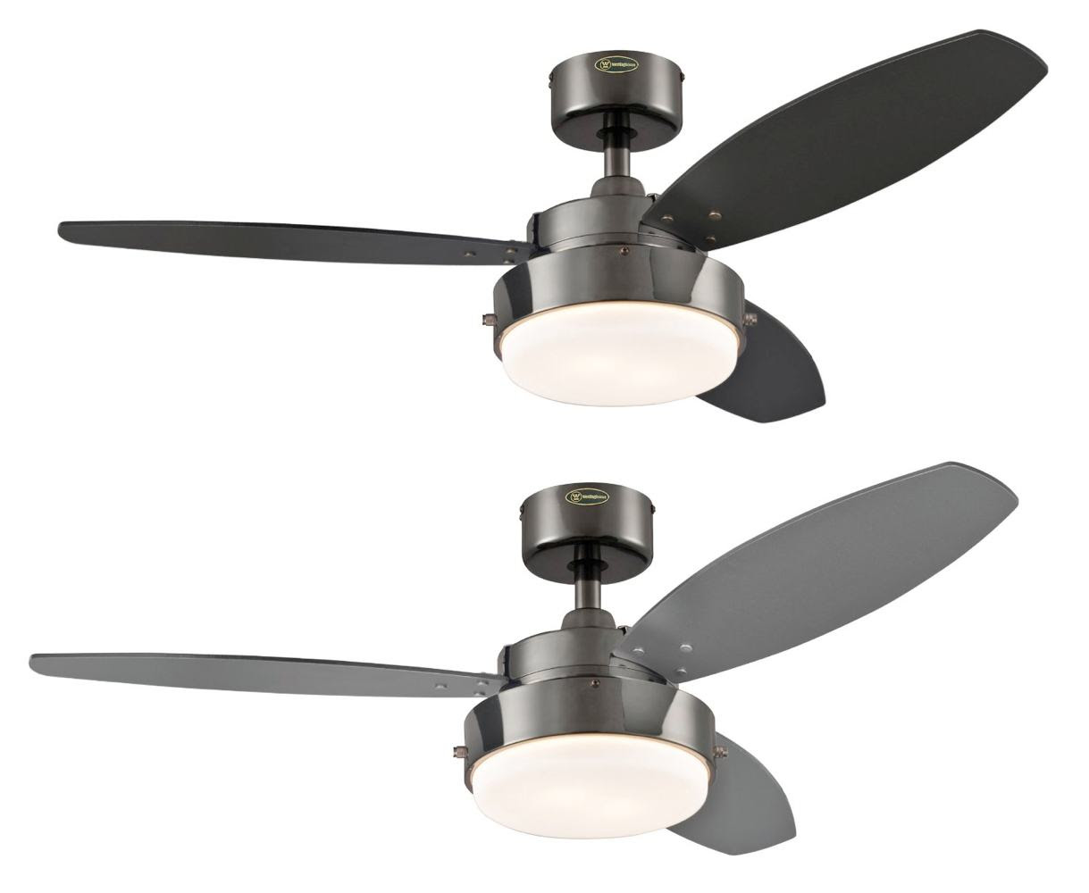 Westinghouse 2 Light 42quot Reversible 3 Blade Indoor Ceiling Fan Gun Light Kit Included