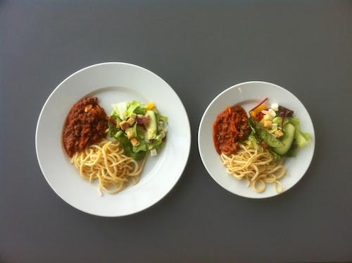 Ukuran piring yang digunakan untuk makan ternyata bisa membantu mengurangi porsi dengan cara memberikan ilusi porsi yang lebih banyak