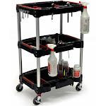 Luxor 626-MC-3 Mechanics 3-Shelf Multipurpose Cart, Black/ Red