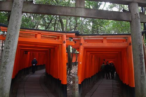 Red gates on the hill of Fushimi Inari Shrine