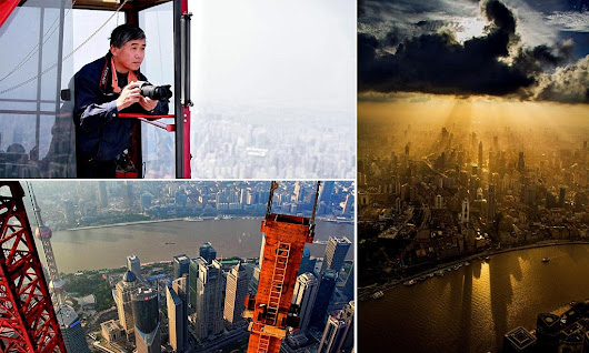 Atmospheric pictures of the skyscrapers of Shanghai taken from a crane