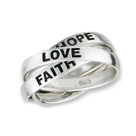 3 Band Sterling Silver HOPE FAITH LOVE Rolling Russian
