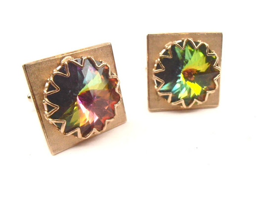 Vintage Rainbow Cufflinks Aurora Borealis Yellow Gold Tone Square Cuff Links Rose Cut Crystal Glass Groom Groomsman Unisex Wedding Formal