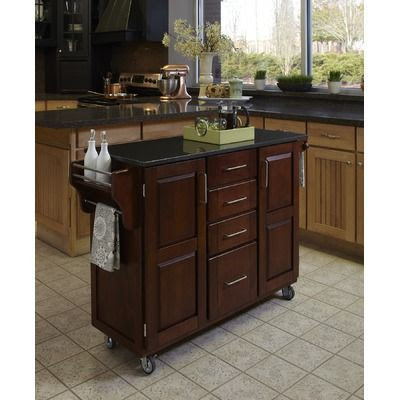Cherry Kitchen Island Cabinet With Black Granite Countertop