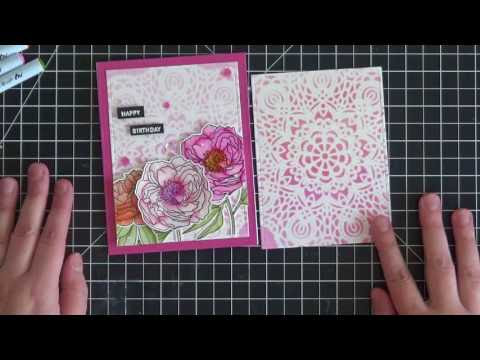 Video Tutorial - W Plus 9 Modern Peonies - Stencil Background and Watercoloring with Zigs