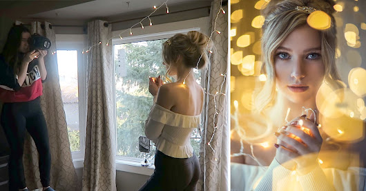 Shooting Portraits with Christmas Lights in an Ordinary Bedroom