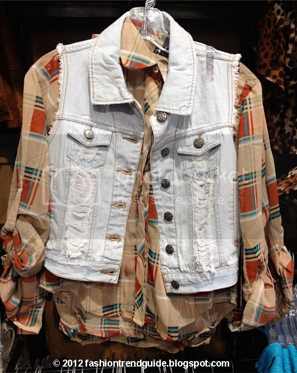 Wet Seal plaid shirt with denim vest