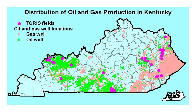 Distribution of oil and gas wells