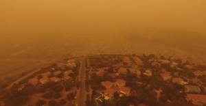 An unprecedented Middle East sandstorm reached Israel on Tuesday and may not dissipate until Rosh Hashanah. Photo: YouTube screenshot.