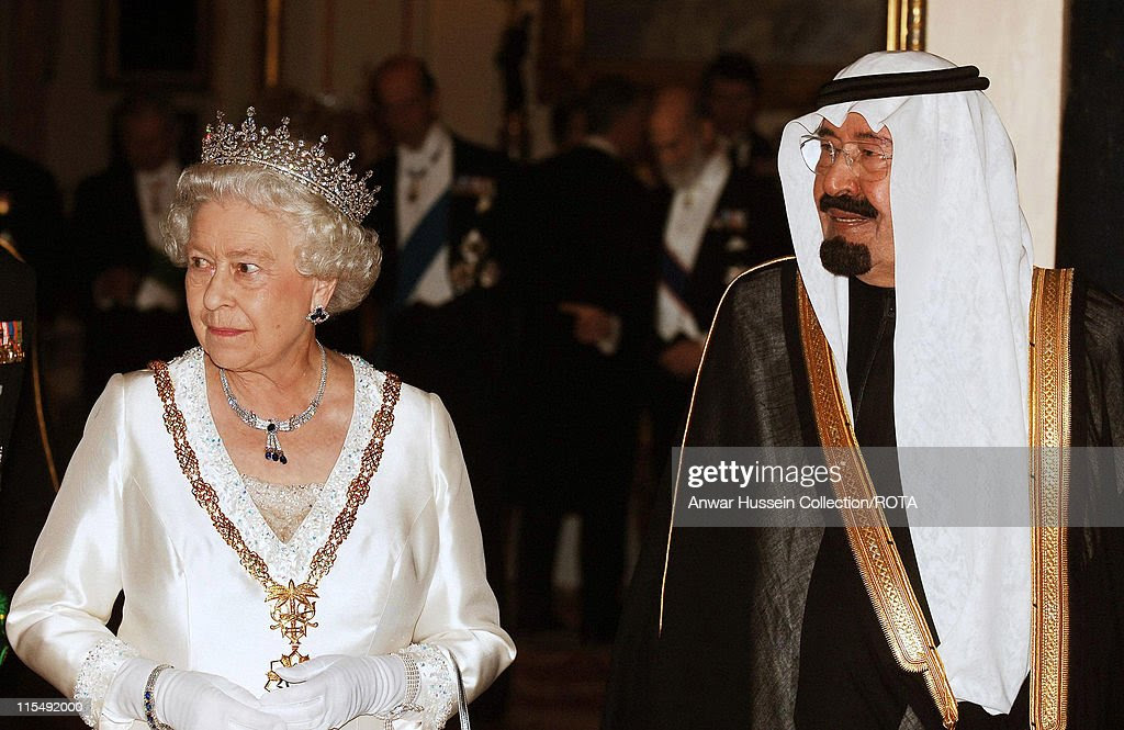 Queen Elizabeth ll and King Abdullah of Saudi Arabia arrive for a State Banquet at Buckingham Palace on October 30, 2007 in London, England.