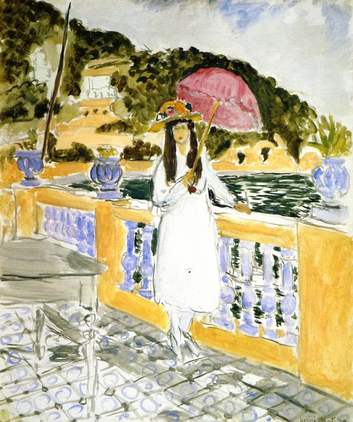 On the Terrace, Girl with Pink Umbrella Henri Matisse - 1919