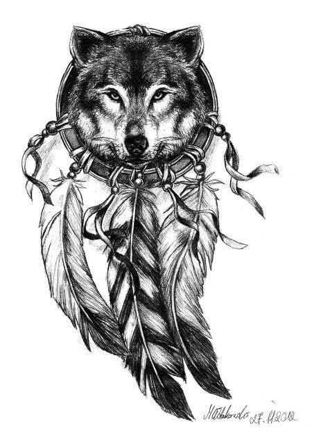 Amazing Grey Ink Wolf Dreamcatcher Tattoo Design