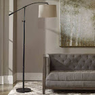 Uttermost 2000885 Rubbed Bronze Floor Lamp with Hard Fabric Shade