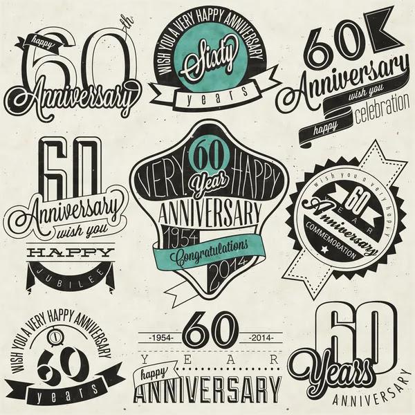 Colección del aniversario 60 estilo vintage — Vector de stock #47940061