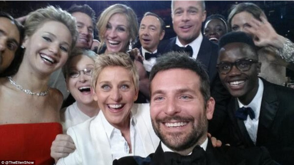 The selfie that broke Twitter: Ellen DeGeneres' selfie with stars Jennifer Lawrence, Bradley Cooper and Meryl Streep (using her Oscars sponsor Samsung Galaxy phone) crashed the social networking site after it was retweeted 2 million times