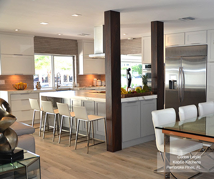 White Cabinets with a Gray Kitchen Island - MasterBrand
