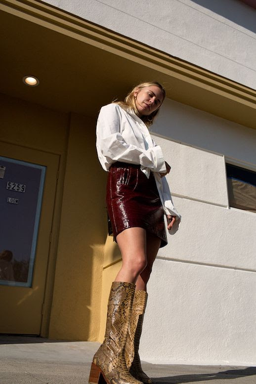 Le Fashion Blog White Tie Front Blouse Maroon Mini Skirt Snakeskin High Boots Via Always Judging