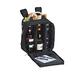 """13"""" Contemporary Style Black """"Magellan"""" Wine and Cheese Insulated Back Pack and Picnic Set by Christmas Central"""