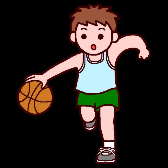 ドリブル2カラーバスケットボールの無料イラスト部活動クラブ活動