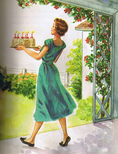 Here comes the cake! #vintage #birthday #cake