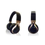 Aduro Resonance Foldable Wireless Bluetooth Headphones Extended Battery Life Black/Gold