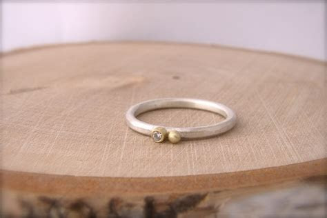 Gold Bezel Diamond Silver Stackable Ring Round Ball