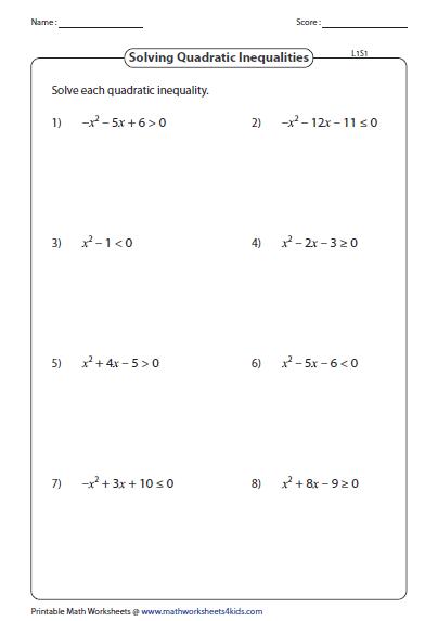29 Solving Quadratic Inequalities Worksheet Answers ...