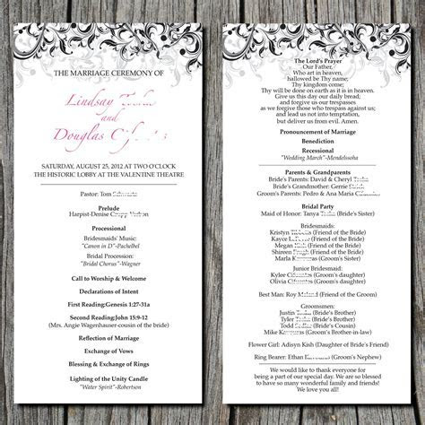Simple Elegant Wedding Ceremony Program DIGITAL by