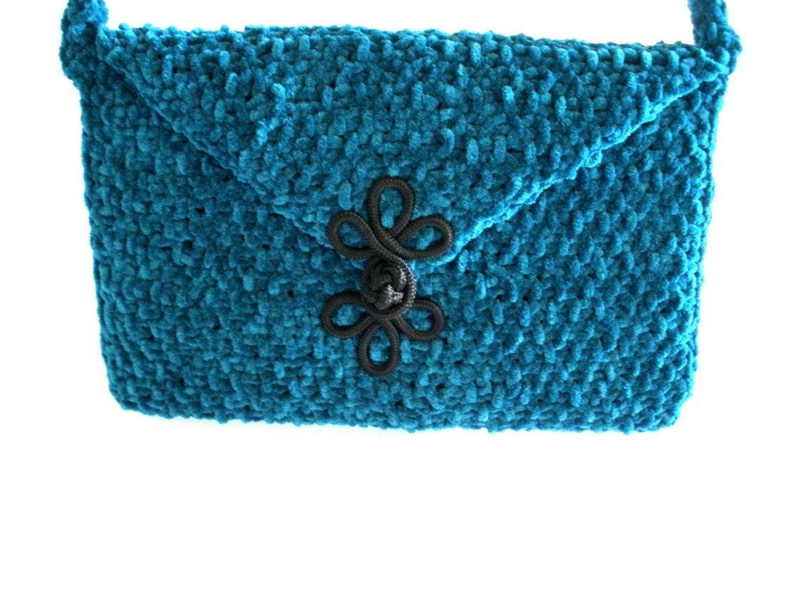 Hand  Knit  Suede  Shoulder  Bag
