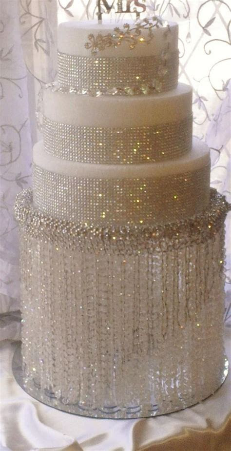 Wedding Cake Stand With Crystals/ Chandelier Acrylic Beads