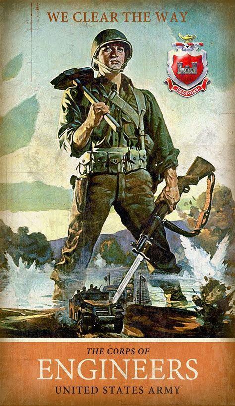 army combat engineer metal sign  army ww propaganda