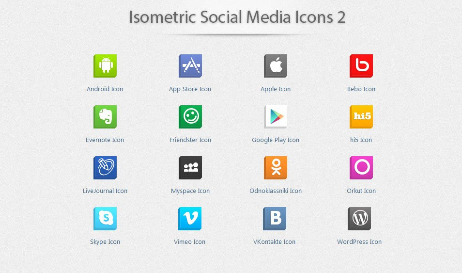 Isometric Social Media Icons 2