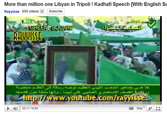 Screen shot of More than million one Libyan in Tripoli ! Kadhafi Speech [With English Subtitles][17-06-2011] @02:11:00