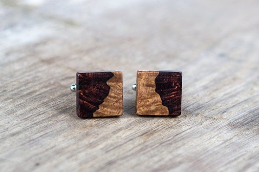 WOODEN CUFFLINKS Square Spalted  Burl wood by KajzarsWoodWork