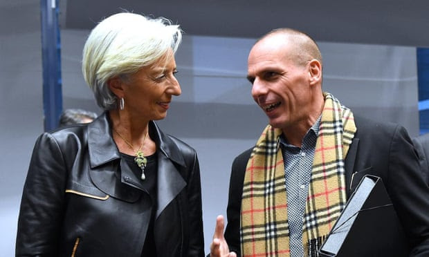 Greek finance minister Yanis Varoufakis and IMF managing director Christine Lagarde at the emergency eurogroup finance ministers meeting.
