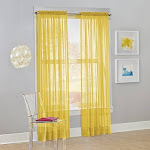 "No. 918 25276 Calypso Sheer Voile Rod Pocket Curtain Panel, 59"" x 63"", Lemon, 1 Panel"