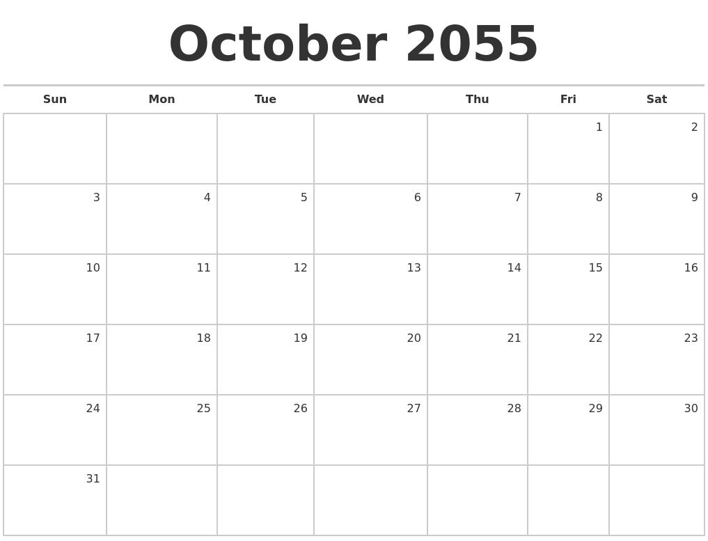 october 2055 blank monthly calendar