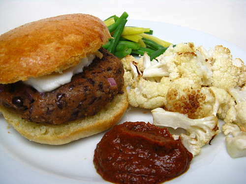 Black Bean Burger with Roasted Cauliflower