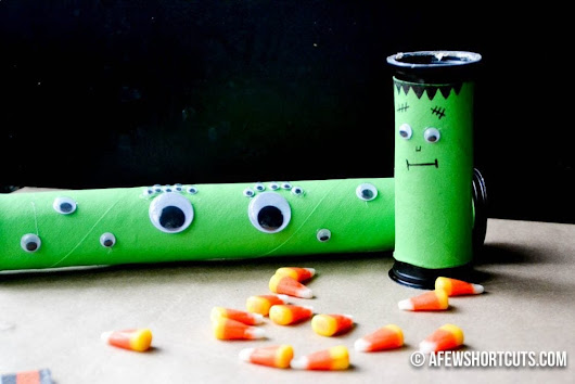 DIY Monster Treat Tubes - Halloween Party Favor - A Few Shortcuts