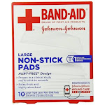 Bandaid First Aid 3X4 in Nonstick Pads 10 ct