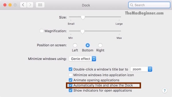 Hide and Unhide the Dock on Mac