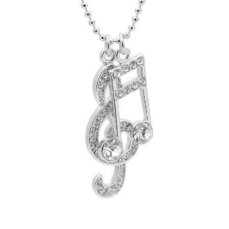Silver Plated Various Crystal Music Notes Clef and Ottava Charm with Chain: Everything Else